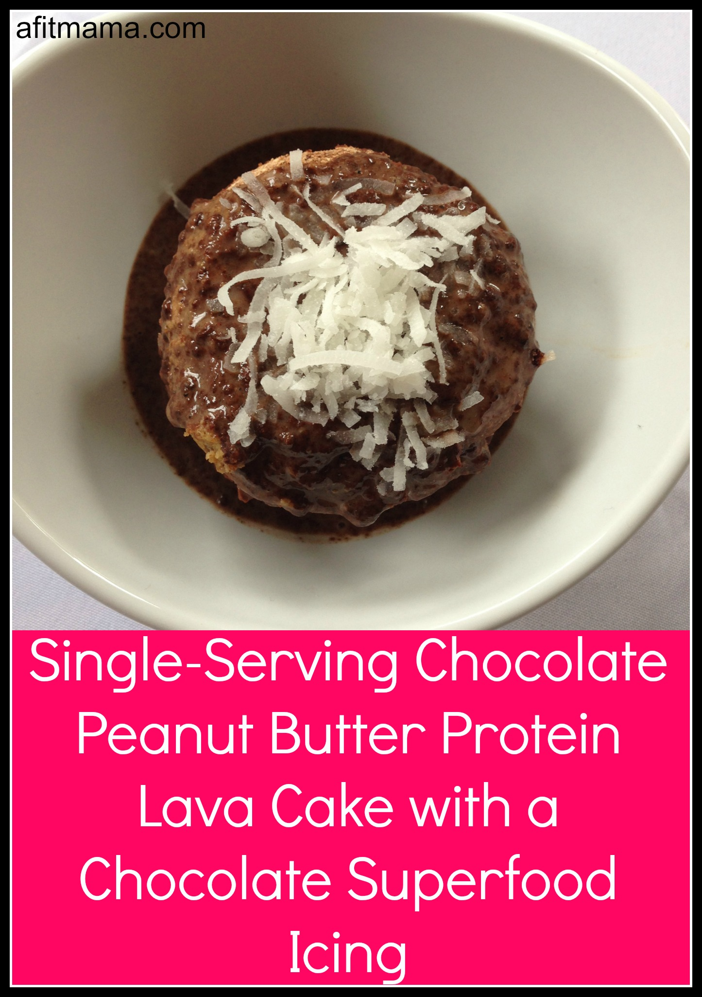 Single-Serving Chocolate Peanut Butter Protein Lava Cake with a Chocolate Superfood Icing